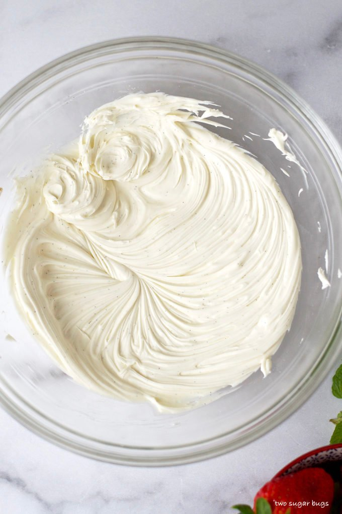whipped mascarpone in a glass bowl