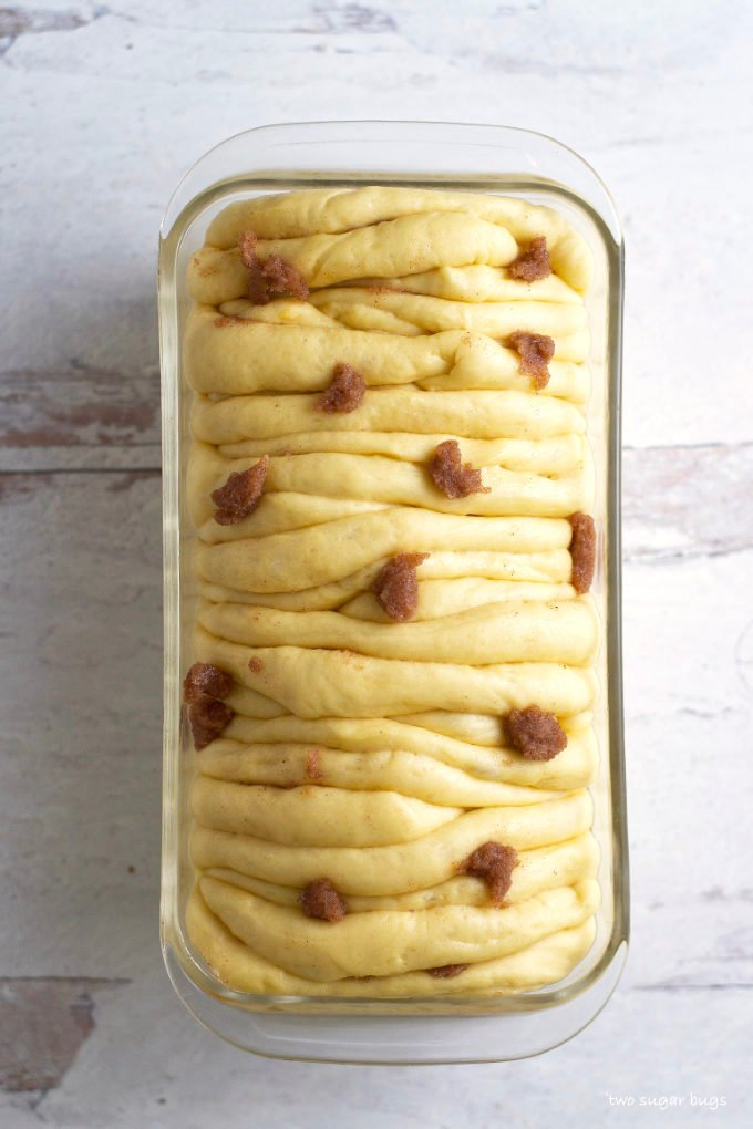 proofed sweet pull apart bread before baking
