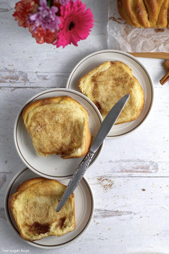 three slices of bread on plates