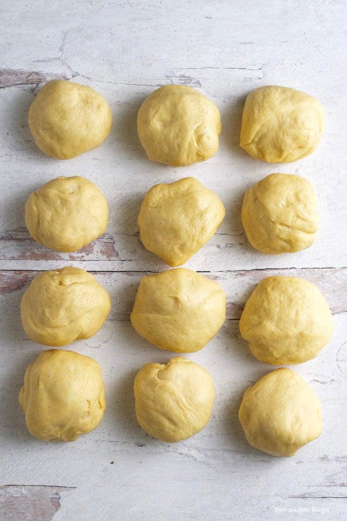 a dozen pull apart bread dough balls