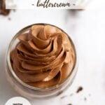 pinterest graphic for small batch chocolate swiss meringue buttercream