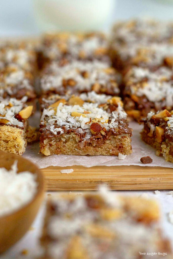 a look at the chewy inside texture of almond cookie bars