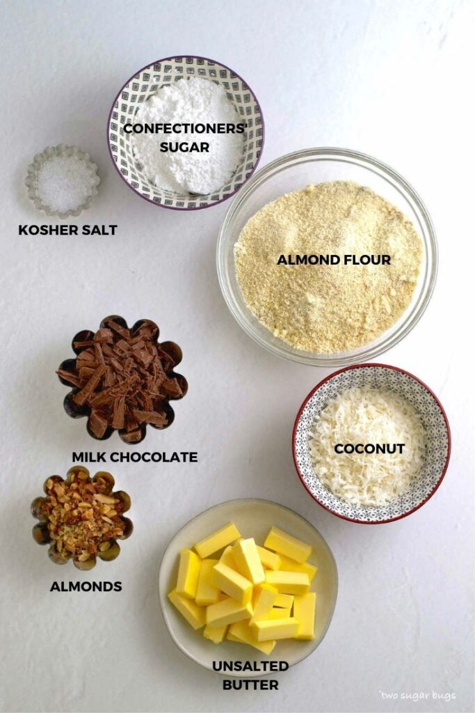 ingredients for almond cookie bars with coconut
