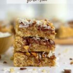 pinterest image for almond cookie bars with coconut