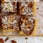 pinterest image for gluten free almond cookie bars