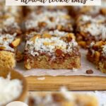pinterest graphic for almond cookie bars with coconut
