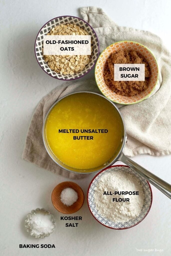 ingredients for oatmeal crumble