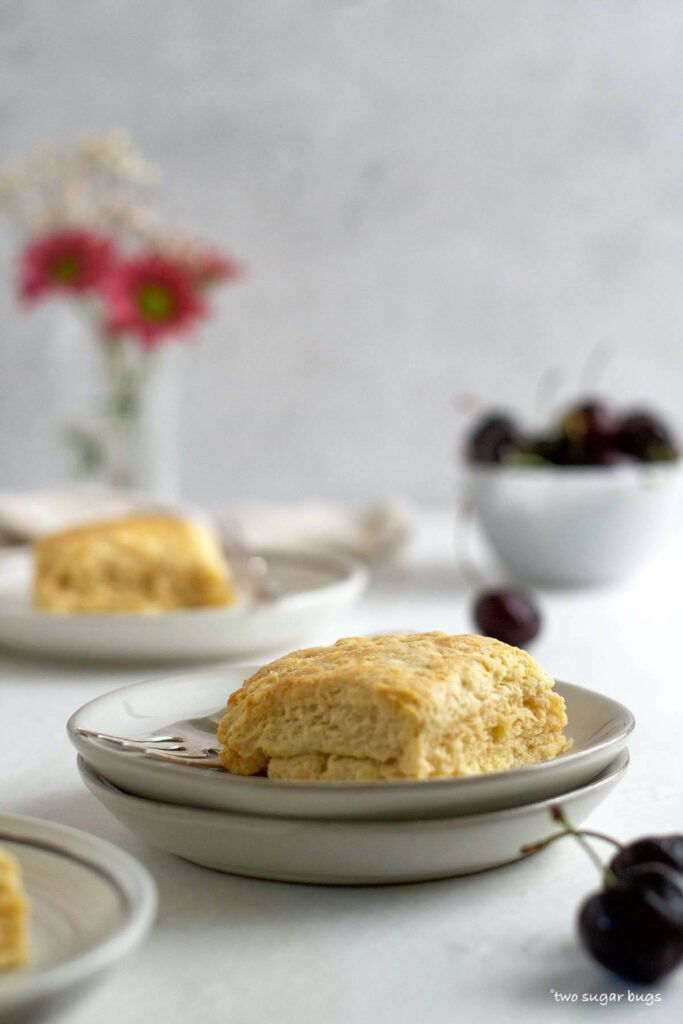 single vanilla biscuit on a plate with a bowl of cherries in the background