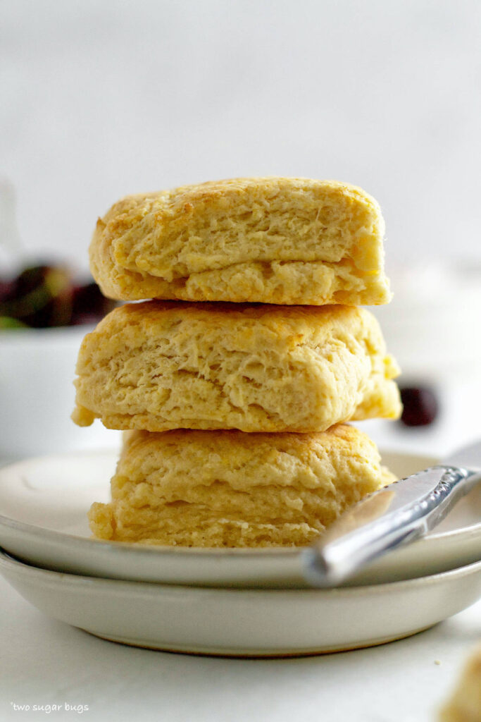 stack of vanilla biscuits on a plate
