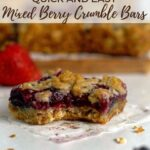 pinterest graphic for berry crumble bars with frozen berries