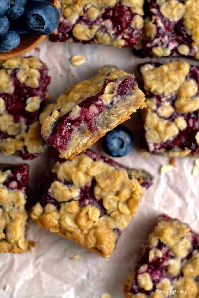 inside look at berry crumble bars