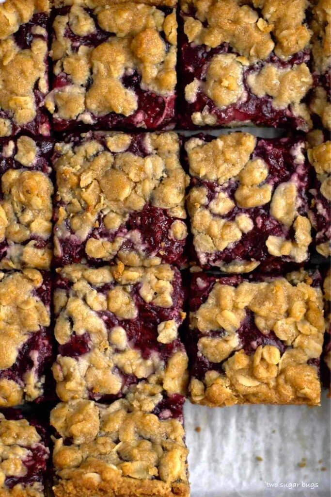 cut cookie bars with oatmeal crumble on top
