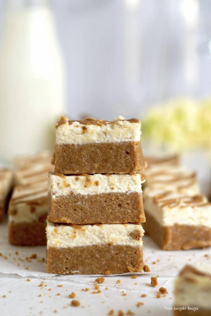 three cookie butter bars stacked on top of one another
