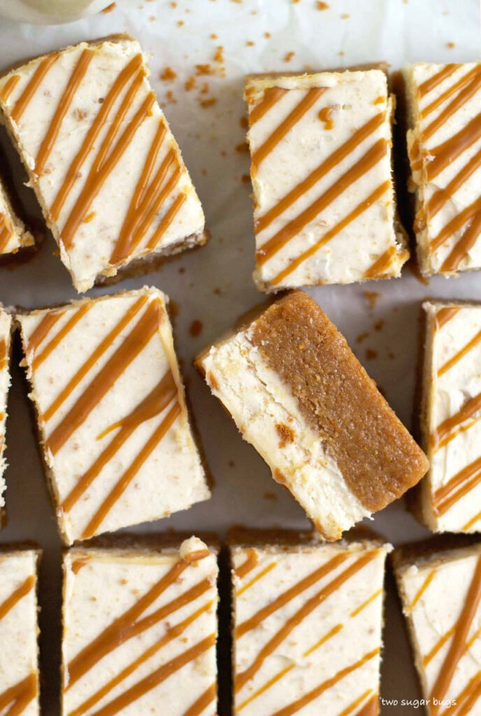 a close up look at the biscoff cookie layer and buttercream layer