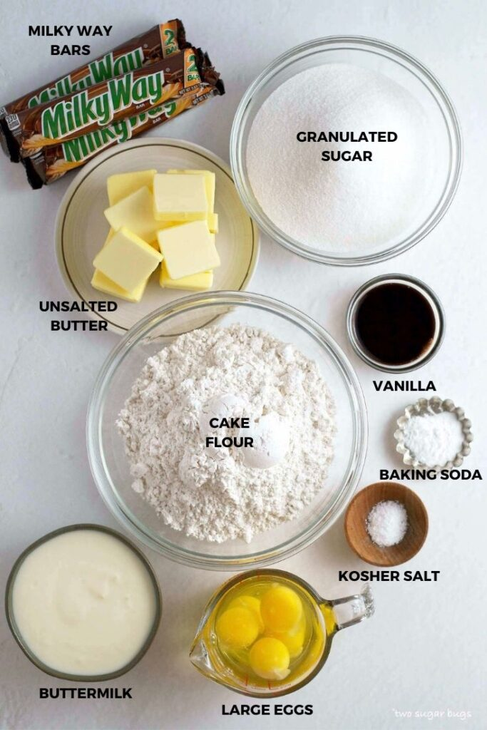 ingredients for Milky Way cake