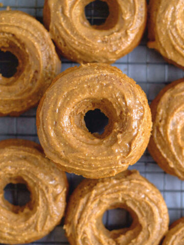 up close overheadlook at a glazed peanut butter donuts