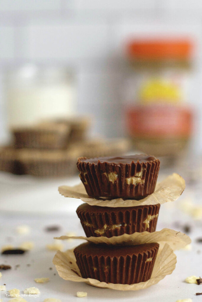 stack of three homemade sunButter cups