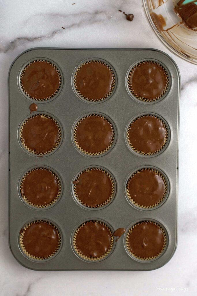finished sunButter cups in a mini muffin tin
