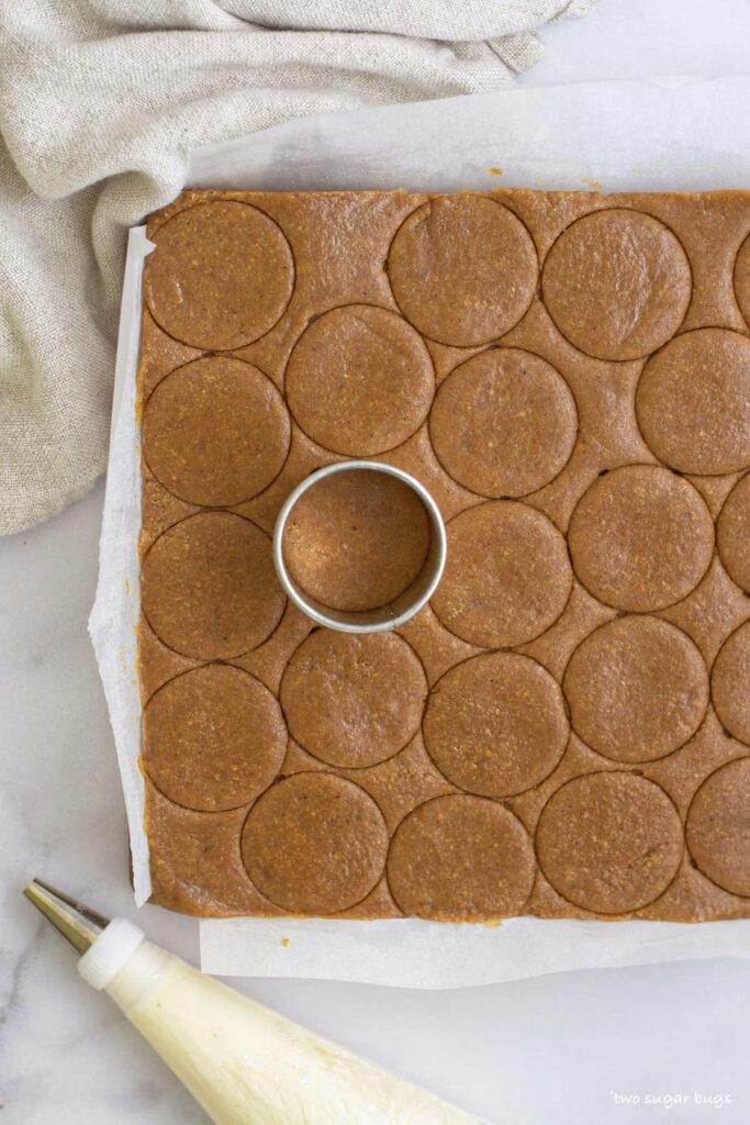 biscuit cutter scoring pumpkin cookies