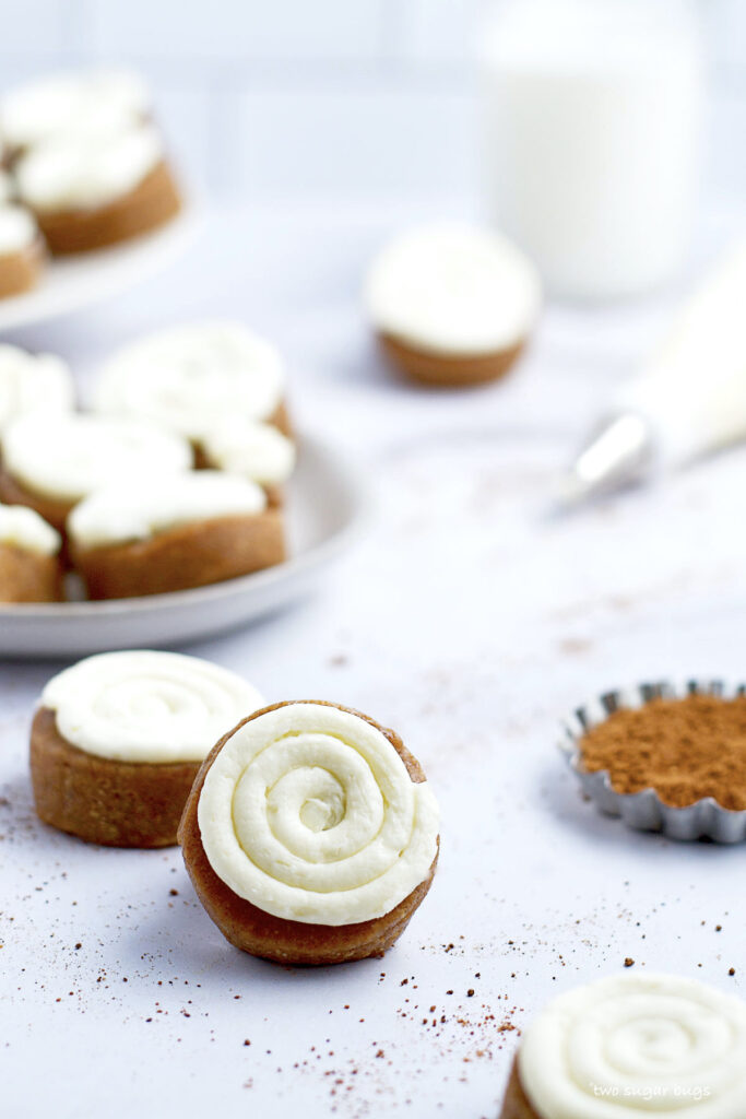 cream cheese swirsl on no bake pumpkin cookies