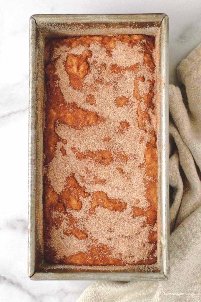 unbaked banana bread showing cinnamon sugar topping