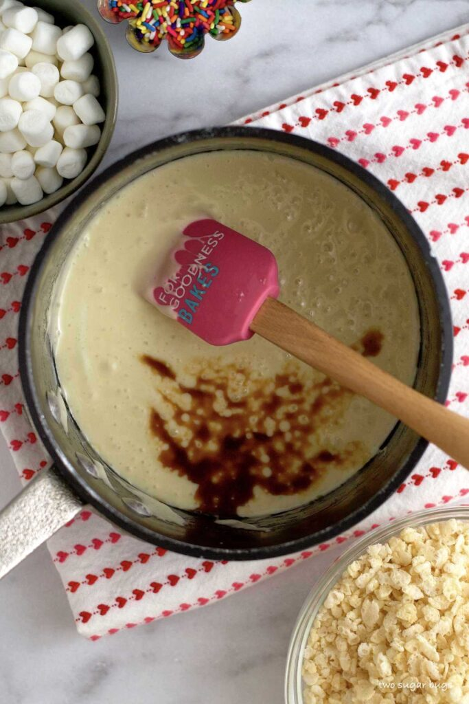 melted marshmallows with vanilla in a saucepan