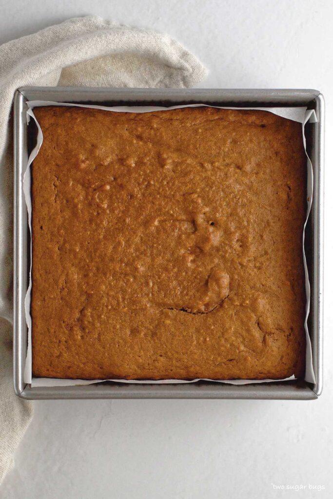 baked pumpkin cake in baking pan