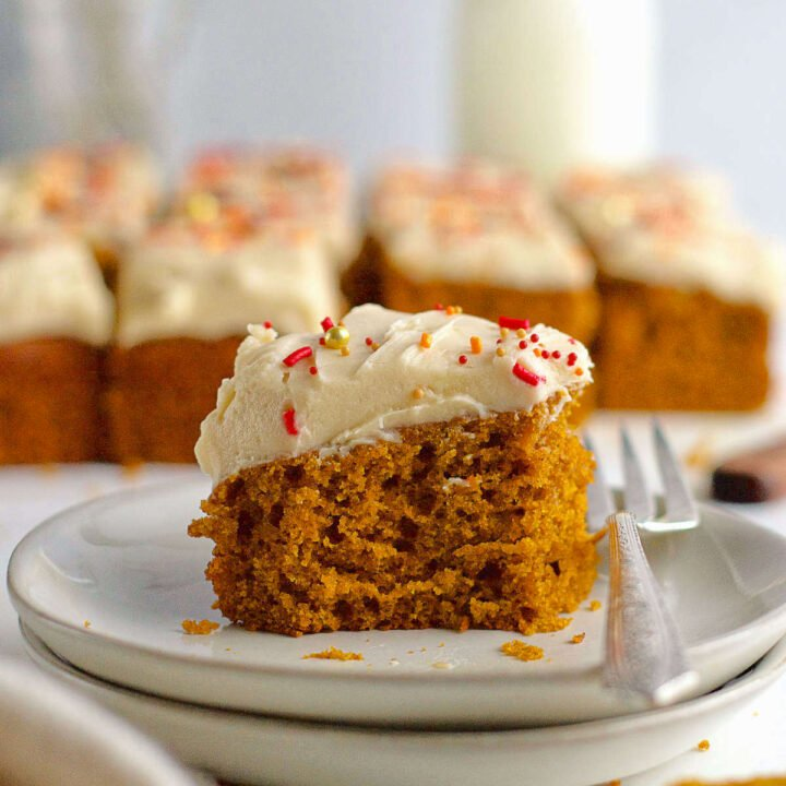 slice of pumpkin cake on a plate with a fork